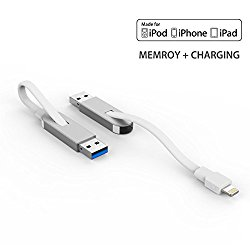 Gmobi MFI Certified USB 3.0 Flash Drive with Lightning Charging Cable, External Storage Memory Stick for Apple iPhone iPad Mac, 64GB