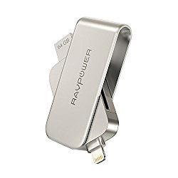 Lightning to SD Card Camera Reader with Memory Stick, RAVPower 64GB iPhone Flash Drive USB 3.0 for iPad iPod iOS Device, External Storage Expansion