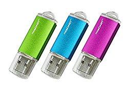 mosDART 3pack 8GB Metal USB2.0 Flash Drive Thumb Drive Jump Drive Memory Stick(Pink Blue Green)