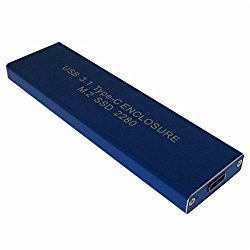 USB 3.1 Type-C USB-C to NGFF M.2 B Key SSD 2230/2242/2260/2280 Adapter Card Enclosure Blue