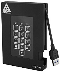 Apricorn Aegis Padlock Fortress FIPS 140-2 Level 2 Validated 256-bit Encrypted USB 3.0 Hard Drive with PIN Access, 2 TB