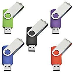 AreTop 4GB USB 2.0 Flash Drive Memory stick Fold Storage Thumb Stick Pen Swivel Design (5-Mix color)