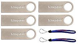 Kingston Digital DataTraveler SE9 16GB USB 2.0 (DTSE9H/16GB) 16GB (5 pack) Flash Drive Jump Drive Pen Drive – Five Pack w/ (2) Everything But Stromboli (TM) Lanyard