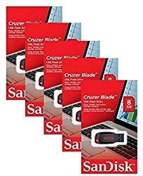 SanDisk 8GB Cruzer Blade USB 2.0 Drive (5-pack)