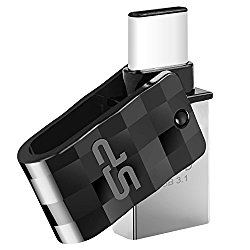 Silicon Power 16GB Flash Drive USB 3.0 Dual Drive USB Type-C C31 Swivel Dual Flash Drive Type C Ready for Smartphones Tablets and New Macbook (SP016GBUC3C31V1K)