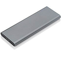 Aluminum M.2 to USB 3.1 NGFF SSD Enclosure Up to 10Gbps External SSD enclosure Caddy Support SATA Based(Grey)