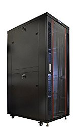 42U 35″ Deep IT Free Standing Server Rack Cabinet Enclosure. Fits Most 19″ Equipment. BONUS Free!!! Temperature Control System, Casters, LED-Screen, PDU and other accessories included