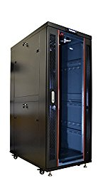 32U 35″ Deep IT Free Standing Server Rack Cabinet Enclosure. Fits Most 19″ Equipment. BONUS Free!!! Temperature Control System, Casters, LED-Screen, PDU and other accessories included!!