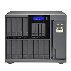 Qnap TS-1677X-1700-64G-US 12 (+4) Bay High-Capacity 10GbE iSCSI NAS, AMD Ryzen 7 1700 8-core 3.0GHz, 64GB RAM, SATA6G, 4 x 1GbE, 2 x 10GbE (Base-T, supports 10G/5G/2.5G/1G/100M), 40GbE-ready