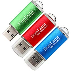 SunData 3 Pack 32GB USB 2.0 Flash Drive Thumb Drives Memory Stick Jump Drive Zip Drive, 3 Colors: Blue Red Green