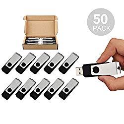 TOPSELL 50PCS 4GB Bulk USB 2.0 Flash Drive Swivel Memory Stick Thumb Drives Pen Drive (4G, 50 Pack, Black)
