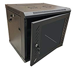 KENUCO 9U Wall Mount Rack Server Cabinet Data Network Enclosure 19-Inch Server Network Rack with Locking Glass Door 16-Inches Deep Black