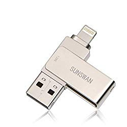 USB Drive 128GB USB Memory Stick Flash Drives Apply to iPhone Encryption Photo Stick External Drive Sunswan Compatible iPhone iPad iOS MacBook and Computer (Silver128G-XY)
