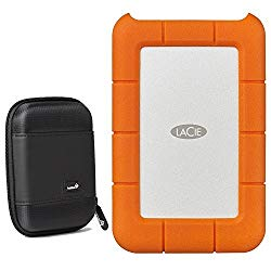 Lacie Rugged 2TB External Portable Hard Drive – USB 3.0, USB-C – STFR2000800 /STFR2000400 – with Ivation Compact Portable Hard Drive Case (Small)