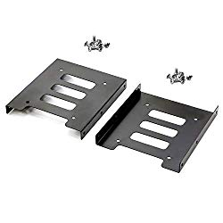 Pasow 2 Pack 2.5″ to 3.5″ SSD HDD Hard Disk Drive Bays Holder Metal Mounting Bracket Adapter for PC (Bracket)