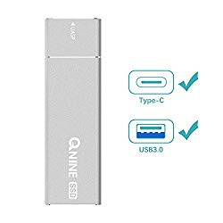 QNINE 512Gb Extreme Portable SSD (1.1 oz Weight), USB C SSD External Hard Drive – USB 3.1 High Speed External SSD for MacBook Pro, Xbox One X, etc