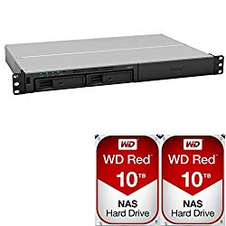 Synology RS217 2-Bay RackStation NAS Bundle with 20TB (2x10TB) of Western Digital Red NAS Drives Assembled and Tested by CustomTechSales