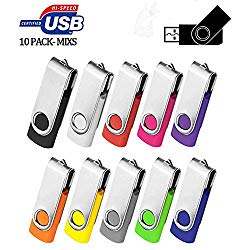 AreTop 2GB USB Flash Drive 10 Pack 2GB Stick Pen Drive Memory Stick USB2.0 Pendrive 2GB Thumb Drive Bulk for Fold Date Storage Memoria USB 2GB (Bulk 10 PCS – Mixed Colors: Black/Blue/Purple/Green/Red)