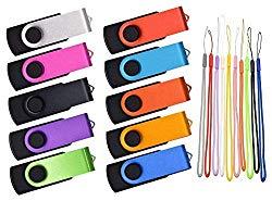 Thumb Drive 16GB 10 Pack USB Flash Drives Bulk, Kepmem Metal Swivel USB 2.0 Memory Stick Portable 16 GB Zip Drive with Multicolor Lanyards for Data Storage