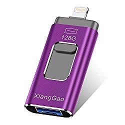 XiangGao Photo Stick Compatible for iPhone Flash Drive 128 GB iOS Flash Drives for iPhone Backup Drive OTG Smart Phone Memory Stick iPAD External Storage USB 3.0 Flash iPhone Drive Jump (purple-128gb)