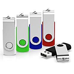 KEXIN 5 Pack 32GB USB Flash Drives 32 GB Jump Drives Thumb Drives Memory Stick Flash Drives USB 2.0, 5 Colors (Black, Blue, Green, White, Red)