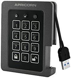 Apricorn Aegis Padlock 480 GB SSD 256-Bit, FIPS 140-2 Level 2 Validated Ruggedized USB 3.0 Encrypted External Portable Drive