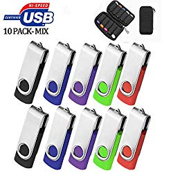 32GB Flash Drive 10 Pack, USB Flash Stick with Easy-Storage Bag ARETOP Pen Drive Gig Stick Memory Stick USB2.0 Pendrive 32GB Thumb Drives for Fold Date Storage (10 PCS – 10 Mix-Colors)