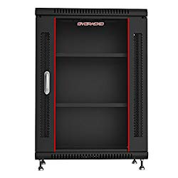 15U 24″ Deep Wall Mount Server Cabinet Enclosure Rack Glass Door ACCESSORIE FREE 4-Way PDU, Cooling Fan, Shelf, Feet, Hardware – FREE!!