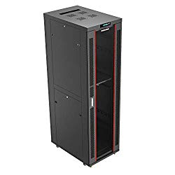 42U 39″ Deep 19″ IT Network Free Standing Server Rack Cabinet Enclosure +Bonus!! $150 Value: Shelf, Thermo System, Powerbar, 4 Fans