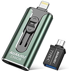 iPhone Flash Drive 256GB iPhone Photo Stick, AUAMOZ iPhone USB 3.0 Memory Photo Stick for iPhone 11 Pro X XR XS MAX, iPhone Flash Drive with 4 Ports Ready for iPhone/iPad/Android/Computer (Dark Green)