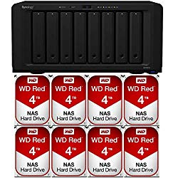 Synology DS1819+ 8-Bay DiskStation NAS Bundle with 4GB RAM and 32TB (8x4TB) of Western Digital Red NAS Drives Assembled and Tested by CustomTechSales